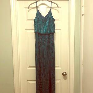 Emerald green Nightway floor length gown. Size 4.